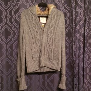 American Eagle faux fur lined hooded cardigan